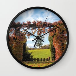 Autumn Foliage Climbing a Portal at a French Garden - Nature and Landscape Photography in France Wall Clock