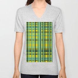 Checkered yellow green Design Unisex V-Neck