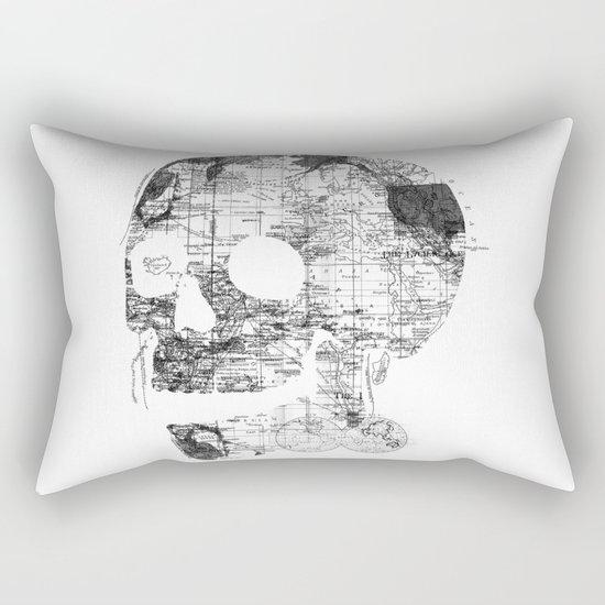 Skull Wanderlust Black and White Rectangular Pillow