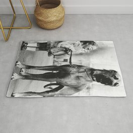 The Happiness of Little Girls and Great Danes black and white photograph Rug