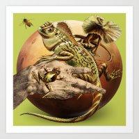 mars Art Prints featuring MARS by Julia Lillard Art