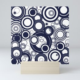 Contemporary Circles Modern Geometric Pattern in Navy Blue and White Mini Art Print