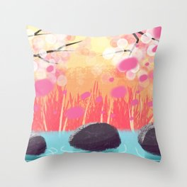 Cherry Blossom Creek Throw Pillow