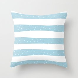 Christmas Simple seamless pattern Snow confetti on White and Pastel Blue Lime Stripes Background Throw Pillow
