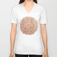 rose gold V-neck T-shirts featuring Rose Gold Burst by Cat Coquillette