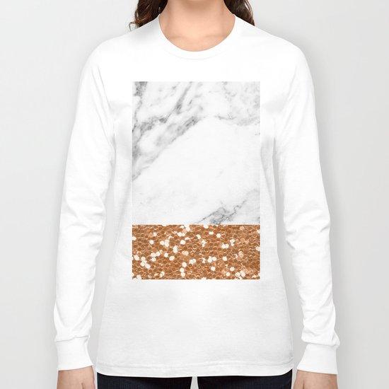 Marble and brass glitter Long Sleeve T-shirt