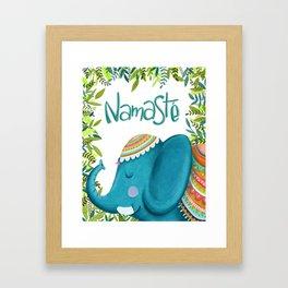 Namastey - Cute Elephant Illustration Framed Art Print
