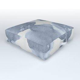 Shibori Wabi Sabi Indigo Blue on Lunar Gray Outdoor Floor Cushion