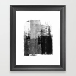 Black and White Minimalist Geometric Abstract Framed Art Print