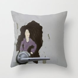The Door knob Lady Throw Pillow