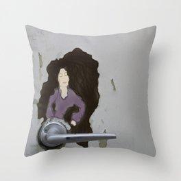 The Door knob Lady Throw Pillow