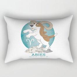 Aries Zodiac Basset Hound Rectangular Pillow