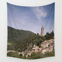 france Wall Tapestries featuring Olargues France by Maria Heyens