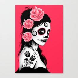 Pink Day of the Dead Sugar Skull Girl Canvas Print