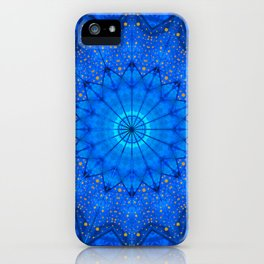 Blue and Gold Dots Kaleidoscope iPhone Case