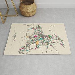 Colorful City Maps: Fukuoka, Japan Rug