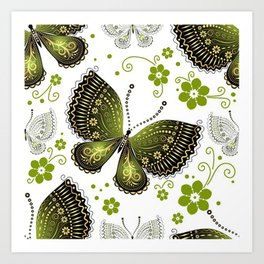 Colorful Butterflies and Flowers V16 Art Print