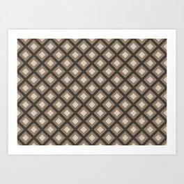 Pantone Hazelnut Zigzag, Diamond Square Pattern Art Print
