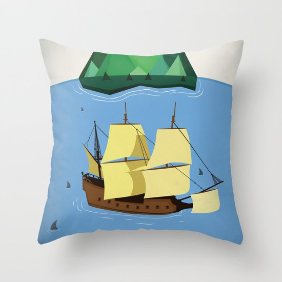 A Galleon on the High Seas Throw Pillow