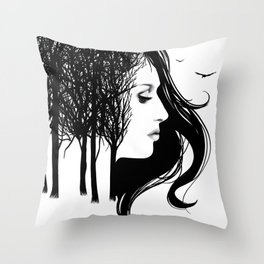 She Whispers Through The Trees Throw Pillow