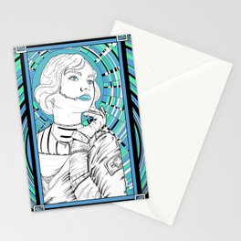 Cosmo girl teal v Stationery Cards