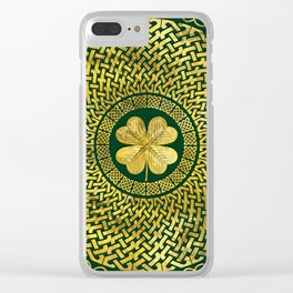 Irish Four-leaf clover with Celtic Knot Clear iPhone Case