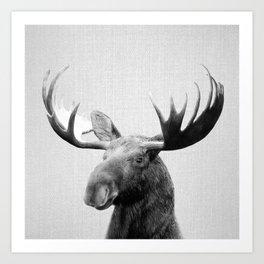 Moose - Black & White Art Print