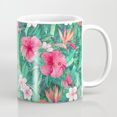 Classic Tropical Garden with Pink Flowers Coffee Mug