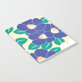 Japanese Style Camellia - Blue and White Notebook