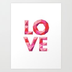 Red Faceted Love Stacked Art Print