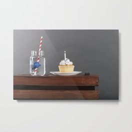 Cupcake with a side of Fish Metal Print