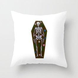 Skeleton Coffin Throw Pillow