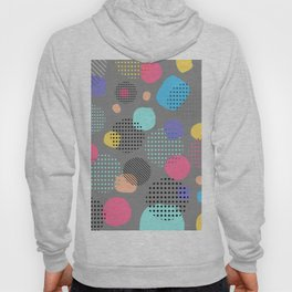Abstract Modern Blue, Pink, Yellow Dots Pattern Hoody