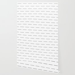 Block Print Lines in Black and White Wallpaper