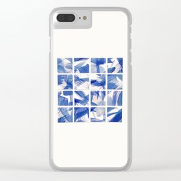 Chinoiserie Blue and White China 16 Square Tile Clear iPhone Case