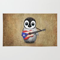 puerto rico Area & Throw Rugs featuring Baby Penguin Playing Puerto Rican Flag Guitar by Jeff Bartels