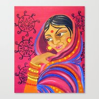 hindu Canvas Prints featuring Hindu Woman by IlyLilyArt