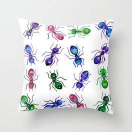 Ants - Bright watercolor painting Throw Pillow