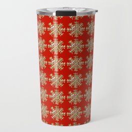 Chic red faux gold foil Christmas snowflakes pattern Travel Mug