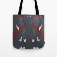 digimon Tote Bags featuring Cyberdramon by JHTY