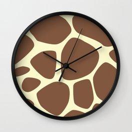 Animal Print (Giraffe Pattern) - Brown Yellow Wall Clock