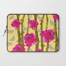 WHITE BUTTERFLIES & CERISE PINK ROSE THORN CANES YELLOW Laptop Sleeve