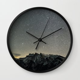 Stars over Lake Minnewanka Wall Clock