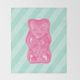 Pink Gummi Bear on Mint Background Throw Blanket