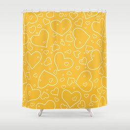 Mustard Yellow and White Hand Drawn Hearts Pattern Shower Curtain