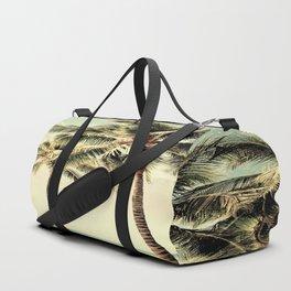 Retro Vintage Palm Tree with Hawaii Summer Sea Beach Duffle Bag