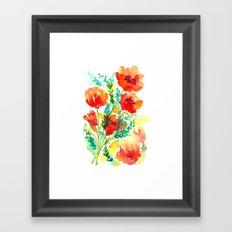 Orange Flowers Watercolor Framed Art Print