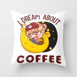 I DREAM ABOUT COFFEE (WHITE) Throw Pillow