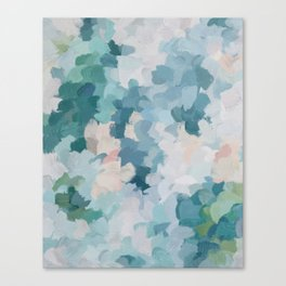 Mint Green Sky Blue Teal Blush Pink Abstract Nature Flower Wall Art, Spring Blossom Painting Canvas Print