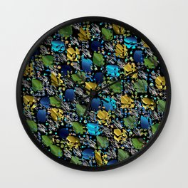 elegant modern pattern with dots circling shiny colored chick glittery Wall Clock